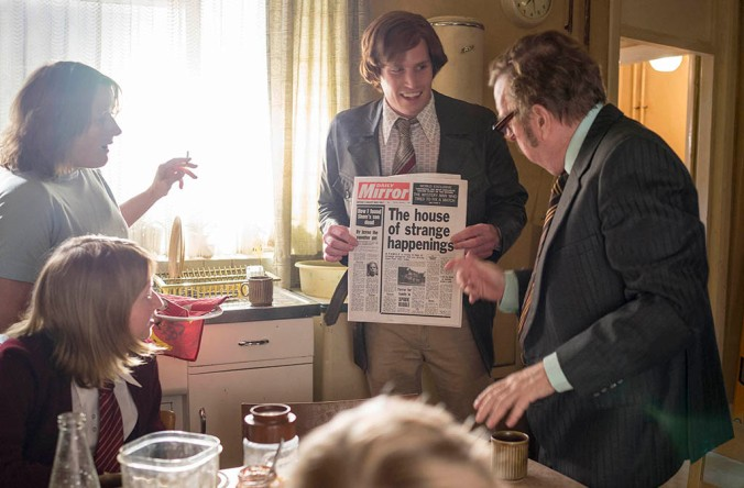 The Enfield Haunting Sky Living Episode 1 Doug Bence played by Tommy McDonnell shows Maurice and the Hodgsons the headline. Timothy Spall plays Maurice Grosse. Rosie Cavaliero as Mts Hodgson. Fern Deacon as Margaret. Credit: Photograph by Nick Briggs